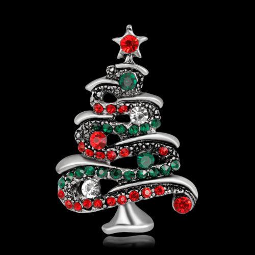 Металлическая брошь 4,2 см в виде новогодней елки с разноцветными стразам
