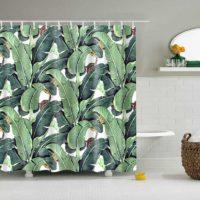 Занавеска шторка для душа/ванной с зеленым растительным тропическим принтом (разные размеры)