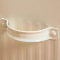 Железное белое ведро с крышкой и ковшиком для хранения муки, зерна, стирального порошка (высота 26,5 см)
