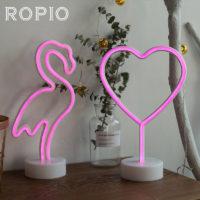 Розовый неоновый светодиодный настольный ночник в виде фламинго, ангела или сердца