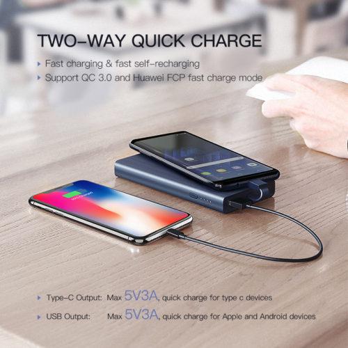 Ugreen Power Bank портативное зарядное устройство 10000 мАч с встроенным кабелем разъема Type C и поддержкой быстрой зарядки