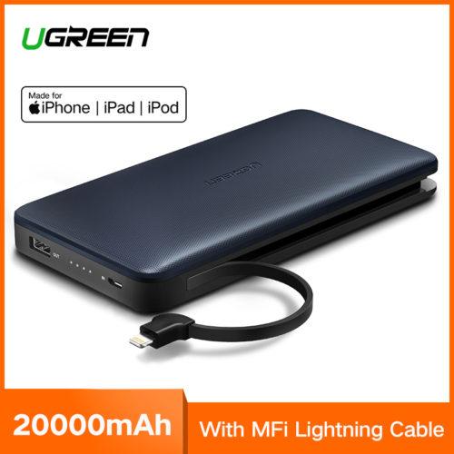 Ugreen Power Bank портативное зарядное устройство 20000 мАч с встроенным кабелем разъема micro USB, для устройств Apple