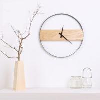 Минималистичные часы в скандинавском стиле с деревянной доской (диаметр 35/40 см)