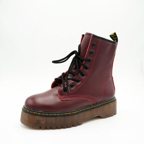 Женские зимние ботинки с мехом, на шнуровке, из искусственной кожи, на высокой платформе (реплика Dr. Martens)