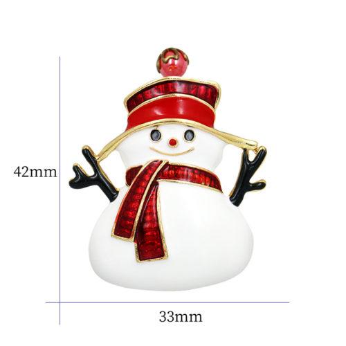 Металлическая брошь 4,2 см в виде снеговика