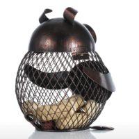 Декоративная металлическая копилка свинья для денег или винных пробок