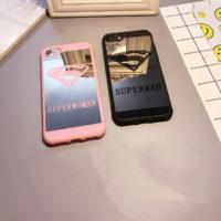 Зеркальный черный или розовый чехол для iPhone с надписью Superman или Superwoman
