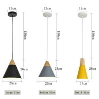 Подвесные светильники из металла и дерева разных цветов в скандинавском стиле