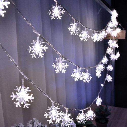 Светодиодная новогодняя гирлянда 5 м с лампочками-снежинками