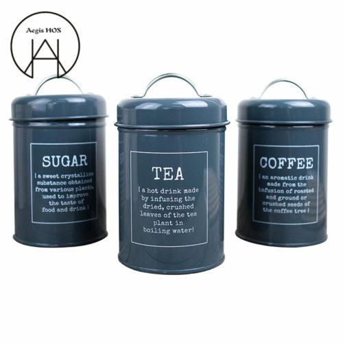 Набор из 3 металлических банок с крышкой для хранения сыпучих продуктов