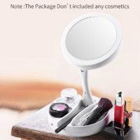 Косметическое светодиодное складное зеркало для макияжа с подсветкой