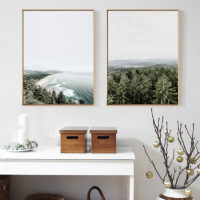 Плакаты картины на холсте с изображением нордического леса и моря