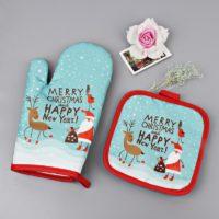 Новогодний набор из прихватки и рукавички для кухни