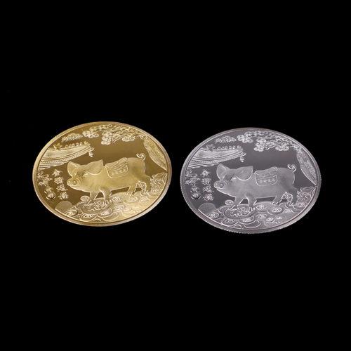 Монета на удачу с символом 2019 года свиньей (золотой или серебряный цвет)