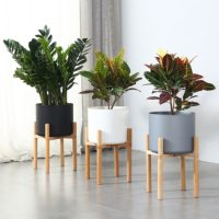Деревянная настольная подставка стенд для комнатных растений в горшках