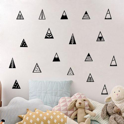 Наклейки стикеры на стену в виде деревьев и гор в скандинавском стиле
