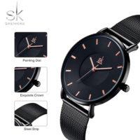 Модные женские наручные кварцевые часы Shengke