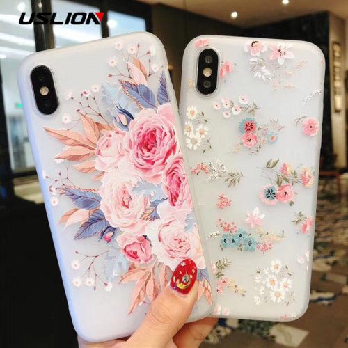 USLION Мягкий силиконовый чехол с рисунками цветов для всех моделей iPhone (айфон)