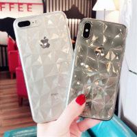 Текстурированный мягкий силиконовый чехол с гранями алмаза для всех моделей iPhone (айфон)