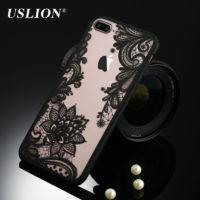 USLION прозрачный твердый чехол бампер с кружевным и цветочным рисунком для всех моделей iPhone (айфон)