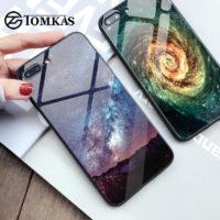 TOMKAS стеклянный глянцевый чехол с силиконовыми мягкими рамками для айфона iPhone со звездами, космосом, планетами и др.