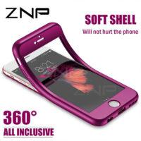 ZNP Силиконовый двусторонний мягкий TPU чехол-обложка 360 со стеклом для iPhone (айфон)