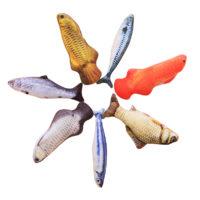 Плюшевые мягкие жевательные 3D игрушки рыбы с кошачьей мятой для котов и кошек