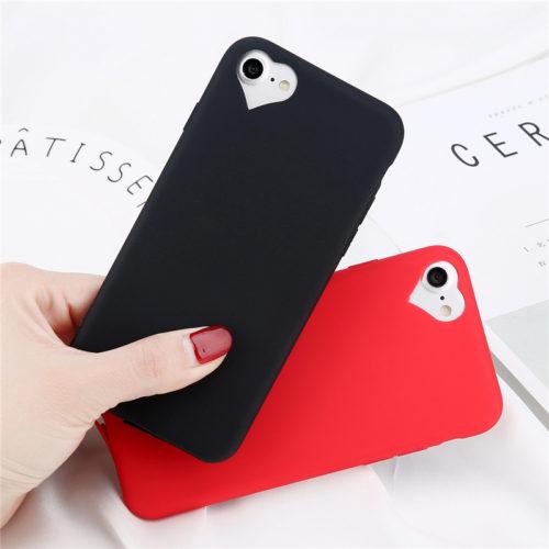 Мягкий силиконовый чехол с сердцем на камере для всех моделей iPhone (айфон)