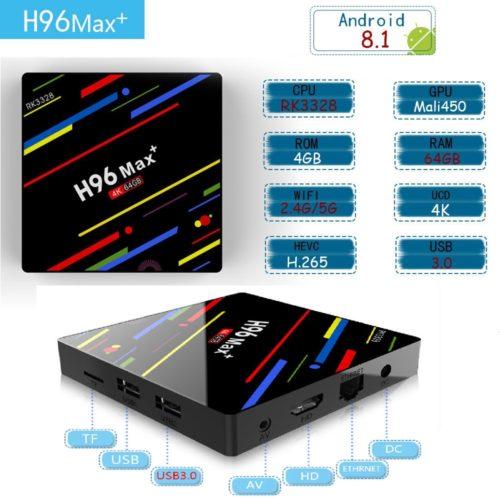 VONTAR H96 MAX Plus медиаплеер смарт тв-приставка к телевизору Android 8.1 TV Box RK3328 4K