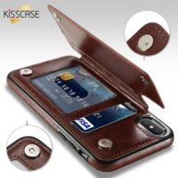 KISSCASE Кожаный флип чехол книжка с отделениями для карточек для всех моделей iPhone (айфон)