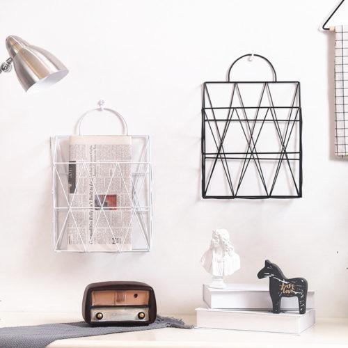 Металлическая сумка корзина для хранения журналов