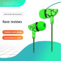 Overfly проводные наушники вкладыши разных цветов с микрофоном, регулятором громкости и рисунком трещин