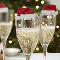 Новогодняя шапка Санта Клауса декор на бокал шампанского