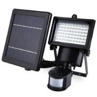 Водонепроницаемый светодиодный прожектор с датчиком движения и солнечной панелью