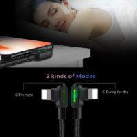 MCDODO Прямоугольный светодиодный USB кабель для зарядки iPhone и других смартфонов (Lightning, Type-C, Micro)