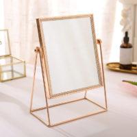 Настольное металлическое круглое или прямоугольное зеркало в скандинавском стиле