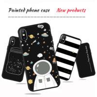 Черный матовый мягкий силиконовый чехол с белыми рисунками для всех моделей iPhone (айфон)