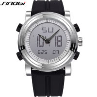 SINOBI мужские цифровые спортивные наручные часы с силиконовым ремешком