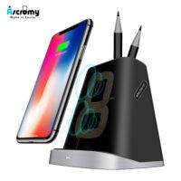 Ascromy QI Высокоскоростное беспроводное зарядное устройство для iPhone, Samsung (подставка для карандашей и ручек)