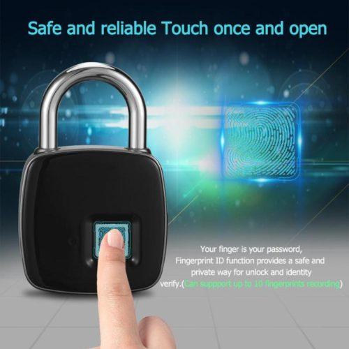 Водонепроницаемый навесной смарт замок fingerprint padlock со сканером отпечатков пальцев