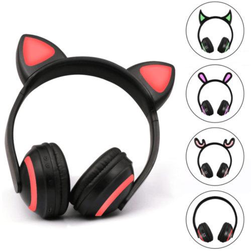 BONWAYE беспроводные Bluetooth наушники с ушками со светодиодной подсветкой и микрофоном