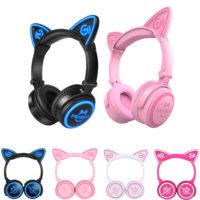 Mindkoo беспроводные мигающие LED Bluetooth наушники-гарнитура с кошачьими ушками, светодиодной подсветкой и микрофоном