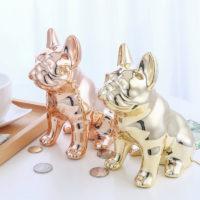 Керамическая зеркальная копилка в виде собаки бульдога