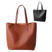 Женская сумка шоппер на плечо из натуральной кожи (черная, коричневая)