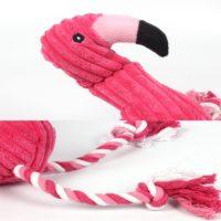 Мягкая игрушка пищалка розовый Фламинго для собак