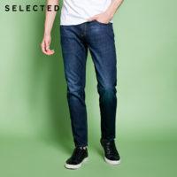 SELECTED Джинсы мужские из смесового хлопка с эффектом потертости и легкой растяжки (синие или голубые)