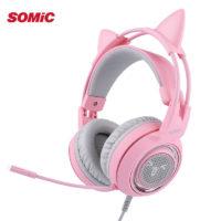 SOMIC G951 Игровые розовые наушники с кошачьими ушками со светодиодной подсветкой и микрофоном