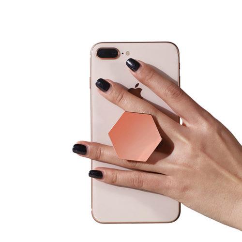 Универсальный шестиугольный держатель попсокет (pop-socket) для телефона (розовое золото, черный, серебро, золото)