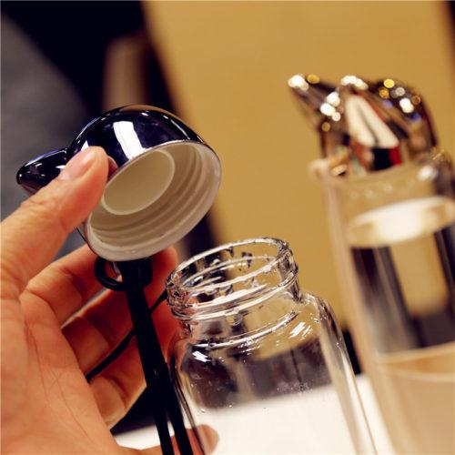 Стеклянная креативная бутылка для воды с ушками на крышке 350 мл