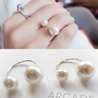 Регулируемое женское кольцо с жемчугом
